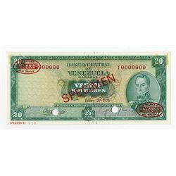 Banco Central de Venezuela, 1974 Specimen Banknote.
