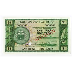 Bank of Western Samoa, ND (1967) Specimen Banknote.
