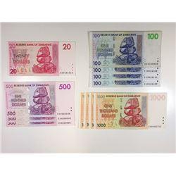 Reserve Bank of Zimbabwe, An Assortment of 12 Mostly Uncirculated  2007 Reserve Bank of Zimbabwe Rep