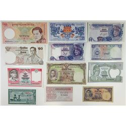 Assorted Asian Issuers. 1940s-2000s. Group of 12 Issued Notes.