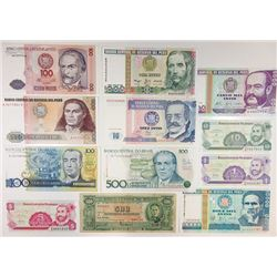 Assorted South American Issuers. 1945-2006. Group of 14 Issued Notes.