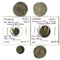 Italy, 1658-1694, Group of Early Coins issued under Dukes Alfonso IV and Francesco II of Modena.
