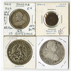 Mexico, Panama, Spain. Quartet of Coins.