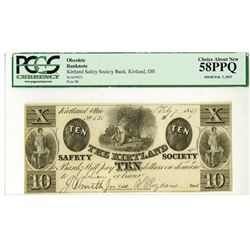 Kirtland Safety Society Bank, Feby 7, 1837 Issued Obsolete Banknote.