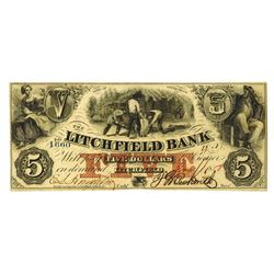Litchfield Bank, 1858 Issued Obsolete Banknote