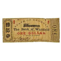 Bank of Whitfield, 1862 Issued Obsolete Scrip Note.