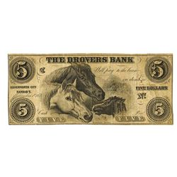 Drovers Bank, 1856 Remainder Obsolete Banknote.