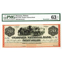 Peoples National Bank, of Helena, Montana, Certificate of Deposit, 1870s Remainder Obsolete Banknote
