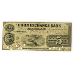 New York, Corn Exchange Bank, 1862 Issued Obsolete Banknote.
