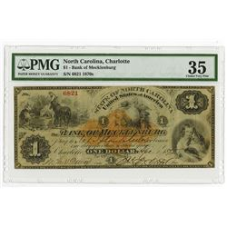 Bank of Mecklenburg, 1875 $1 Obsolete Banknote With U.S.I.R. RN-D1.