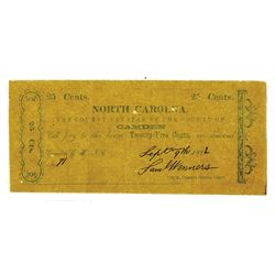 "County of Camden, 1862 Obsolete Scrip Note with ""CAROLNA"" Misspelled in Title."