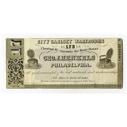 Geo. J. Henkels, City Cabinet Warerooms, 1860-70 Advertising Banknote.