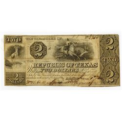 Republic of Texas, 1840, $2 Obsolete Banknote.