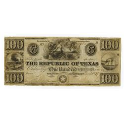 Republic of Texas, 1840, $100 Obsolete Banknote.