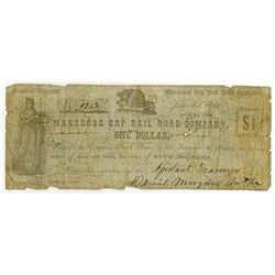 Manassas Gap Rail Road Company, 1861 Issued Obsolete Scrip Note.