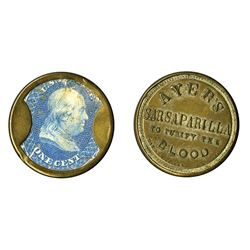 Ayers Sarsaparilla Medium Ayers, 1 Cent, Encased Postage.
