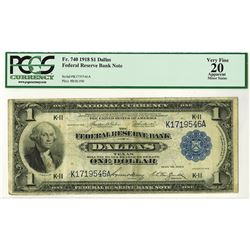 Federal Reserve Bank of Dallas, Texas, $1, 1918 Fr.#740, Teehee | Burke.