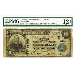 First National Bank of Trenton, $10, 1902 Plain Back, Ch#281, Fr#624, Lyons | Roberts.