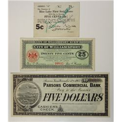 Various Issuers. 1907-1934. Trio of Depression & Panic Scrip Notes.