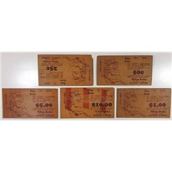 South Bend Merchant's Association. 1934. Quintet of Wooden Depression Scrip Notes.