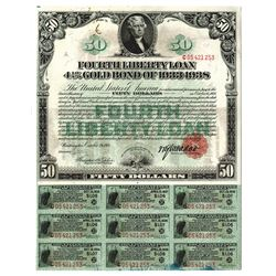 Fourth Liberty Loan 4 1/4% Gold Bond of 1933-1938, 1918 Issued Bond.