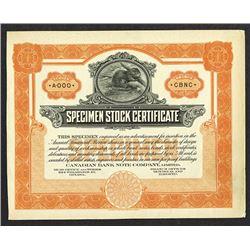Canadian BNC Specimen stock Certificate, ca. 1910-30.