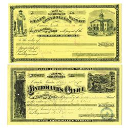 Controller's Office - State of Nevada, Pair of Indigent Insane Fund Warrants ca.1879-1884.