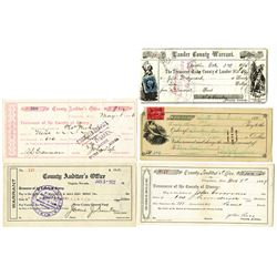 Virginia and Austin, Nevada Warrants, ca.1863-1922 Lot of 5.