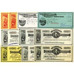 Winnemucca, Nevada, Lot of 10 Warrants, ca.1912 to 1935.