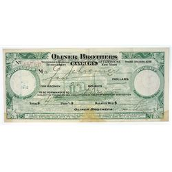 Oliner Brothers. 1912 Receipt.