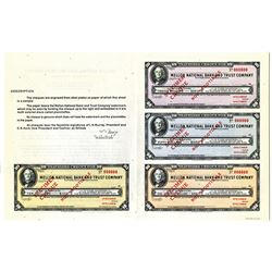 Mellon National Bank and Trust Co., 1947 Specimen Sample Sheet of Traveler's Checks.