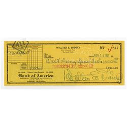 Walt Disney Signed Check dated 1951.