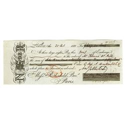 N.M. Rothchild, 1831 Signed Sight Draft by Rothchild.