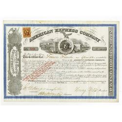 American Express Co., 1866 Stock Certificate signed by H. Wells and J. Fargo.