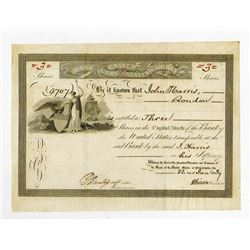 Bank of the United States, 1839 I/U Stock Certificate signed by Nicholas Biddle.