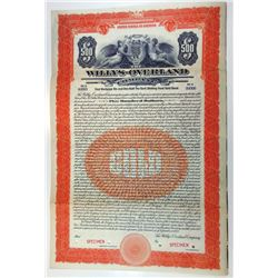 Willys-Overland Co. 1923 Specimen Bond.