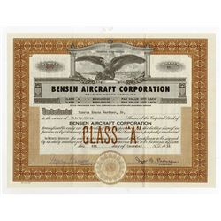 Bensen Aircraft Corp. 1956 issued Stock Certificate, Helicopter Developer.