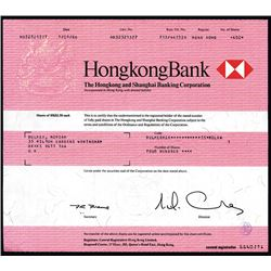HongKongBank (HSBC) Issued Shares. 1986.