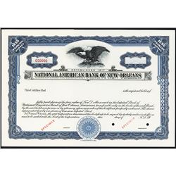 National American Bank of New Orleans Specimen Stock.