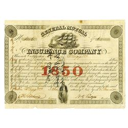 General Mutual Insurance Co., 1850 Cancelled Bond Certificate