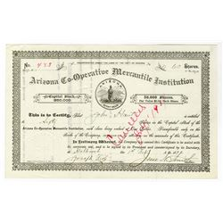 Arizona Co-Operative Mercantile Institution, Mormon related company, 1897 Stock Certificate Signed b