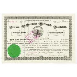 Arizona Co-Operative Mercantile Institution, Mormon related company, 1898 Stock Certificate Signed b