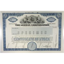 The Lehman Corporation, 1989 Specimen Stock Certificate.