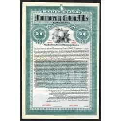 Montmorency Cotton Mills Co., 1904 Specimen Bond