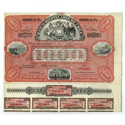 Banco Hipotecario de Chile, ca.1900-1920 Specimen Bond