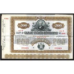 Caja de Credito Hipotecario 1900 Specimen Bond.