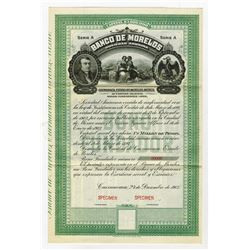 Banco De Morelos, 1903 Specimen Bond.