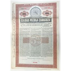 Ciudad De Puebla de Zaragoza, 1910 Specimen Bond
