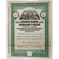 Compania Minera Chontalpan Y Anexas, 1921 Specimen Bond