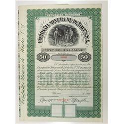 Compania Minera de Penoles, S.A., 1910 Specimen Bond